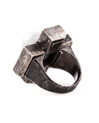 Lanvin - Gray Cross-Shaped Ring - Lyst