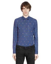KENZO - Blue Ufo Printed Cotton Poplin Shirt for Men - Lyst