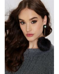 Nasty Gal | Black Fur Better Or Worse Earrings | Lyst