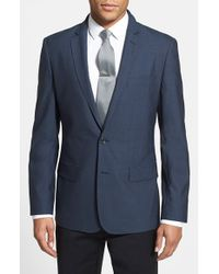 Calibrate | Blue Trim Fit Wool & Mohair Blazer for Men | Lyst