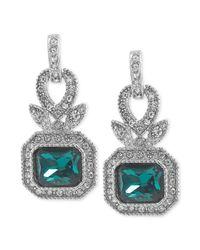 Carolee | Metallic Silvertone Blue Green Crystal Rectangle Drop Earrings | Lyst