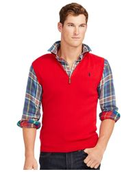 Polo Ralph Lauren | Red Half-zip Pima Vest for Men | Lyst