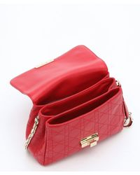 Dior - Red Cannage Calfskin 'diorling' Chain Shoulder Bag - Lyst