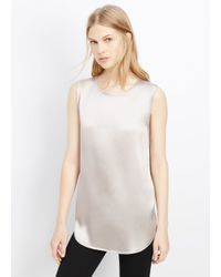 Vince - White Sleeveless High Low Tank - Lyst