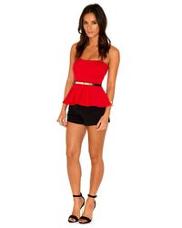 Missguided | Aleta Bandeau Peplum Top In Red | Lyst