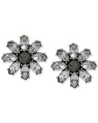 Betsey Johnson - Metallic Silver-Tone Crystal Flower Stud Earrings - Lyst