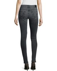 True Religion - Gray Halle Mid-rise Super Skinny Jeans - Lyst