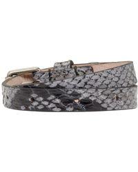 Alexander McQueen - Black And Grey Leather Double_wrap Bracelet - Lyst