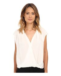 Velvet By Graham & Spencer | White Manda Short Sleeve Surplice Top | Lyst
