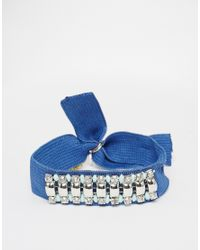 Nali | Blue Elasticated Bracelet With Statement Gems | Lyst