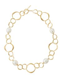 Majorica | Metallic Hammered Twisted Oval Fauxpearl Necklace | Lyst