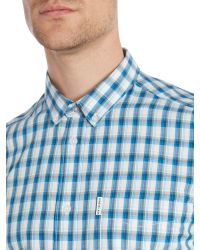 Ben Sherman - Blue Four Check Slim Fit Short Sleeve Shirt for Men - Lyst