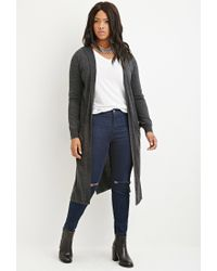 Forever 21 | Gray Plus Size Hooded Longline Cardigan | Lyst