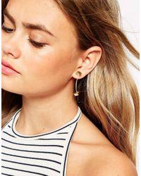 ASOS | Metallic Faceted Stud Through Earrings | Lyst
