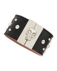 Alexander McQueen - Skullclasp Studded Leather Cuff Black - Lyst
