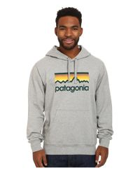Patagonia | Gray Line Logo Midweight P/o Hooded Sweatshirt for Men | Lyst