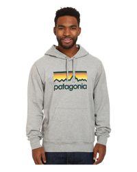 Patagonia - Gray Line Logo Midweight P/o Hooded Sweatshirt for Men - Lyst