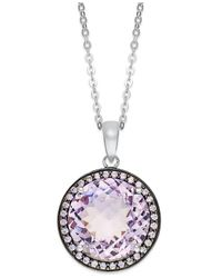 Macy's | Metallic Sterling Silver Necklace, Natural Pink Amethyst (7-1/5 Ct. T.w.) And Purple Swarovski Zirconia (1/2 Ct. T.w.) Pendant | Lyst