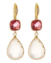 Indulgems | Pink Crystal & Rose Quartz Drop Earrings | Lyst