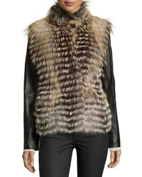 Gorski - Natural Fox-fur Jacket With Leather Sleeves - Lyst