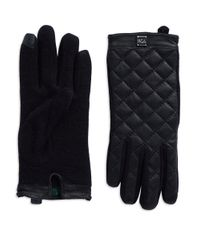 Lauren by Ralph Lauren | Black Leather And Wool Gloves | Lyst