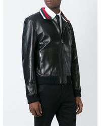 dac92e049 Gucci Leather Bomber Jacket in Black for Men - Lyst