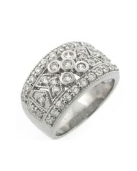 Lord & Taylor | Metallic Sterling Silver Ring With Cubic Zirconia Embellishments | Lyst