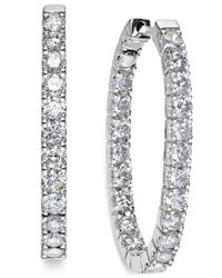 Macy's | Metallic In-and-out Diamond Hoop Earrings (3 Ct. T.w.) In 14k White Gold | Lyst
