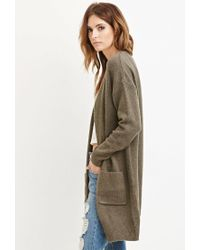 Forever 21 - Green Contemporary Open-front Longline Cardigan - Lyst