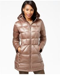 Calvin Klein | Brown Hooded Down Packable Puffer Coat | Lyst