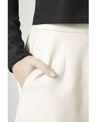 TOPSHOP - White Faux Leather Culottes - Lyst