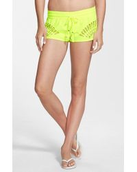 Rip Curl - Yellow 'journey On' Laser Cut Shorts - Lyst