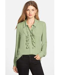 Vince Camuto | Green Ruffle Front Blouse | Lyst