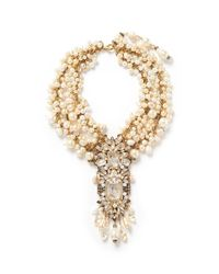 Erickson Beamon | White ''pearl Jam' Faux Pearl Crystal Drop Necklace | Lyst