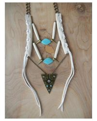 Love Leather - Blue Tribal Warrior Necklace - Lyst