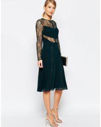 ASOS - Black Lace And Pleat Detail Midi Dress - Lyst