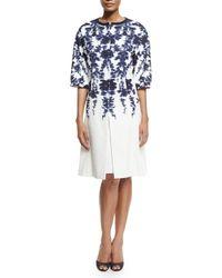 Carolina Herrera - Blue Floral-print Cloque Overcoat - Lyst