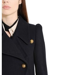Chloé - Blue Double Breasted Compact Felted Wool Coat - Lyst