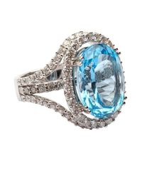 Vendoro - Blue Topaz And Diamond Cocktail Ring - Lyst