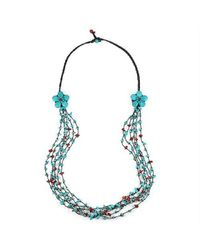Aeravida | Long Double Blue-red Flowers And Stone Nuggets Necklace | Lyst