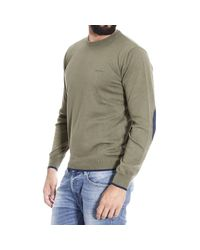 Armani Jeans | Green Sweater Crewneck With Patches Contrast for Men | Lyst