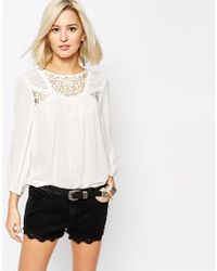 Vero Moda | White Lace Insert Blouse | Lyst
