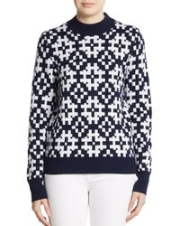 Equipment - Blue Tayden Mock Neck Jacquard Sweater - Lyst