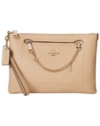 COACH | Natural Polished Pebbled Prairie Wristlet | Lyst