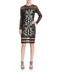 Tadashi Shoji - Black Lace Embroidered Illusion Top Sheath Dress - Lyst