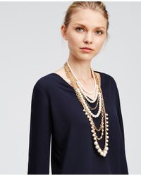 Ann Taylor | White Layered Pearlized Chain Necklace | Lyst