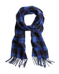 Brooks Brothers - Blue Saxxon Wool Buffalo Check Scarf for Men - Lyst