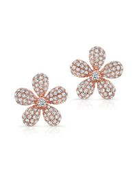 Anne Sisteron | Metallic 14kt Rose Gold Diamond Puffy Daisy Flower Stud Earrings | Lyst