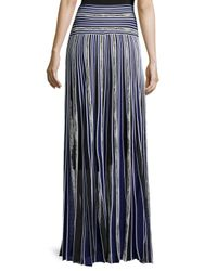 Roberto Cavalli - Blue Long Metallic Striped Skirt - Lyst
