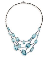 Alexis Bittar Fine | Metallic Sky Marquis Blue Quartz, Multicolor Sapphire & Sterling Silver Bib Necklace | Lyst